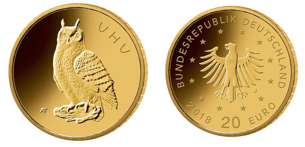 """Die neue deutsche 20-Euro-Gold-Gedenkmünze """"Heimische Vögel – Uhu"""" erscheint am 21. Juni 2018"""