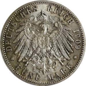 5 Mark, Deutsches Kaiserreich, 1909