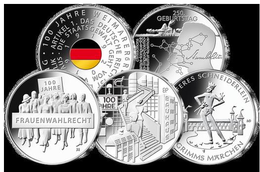 Die fünf 20-Euro-Gedenkmünzen 2019 aus Sterlingsilber wird Deutschlands erste Farbmünze | MDM-Münzenblog
