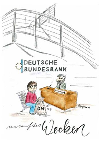 Illustration: Abschied von Schlafmünzen (D-Mark, Heiermann, Bundesbank Bielefeld)