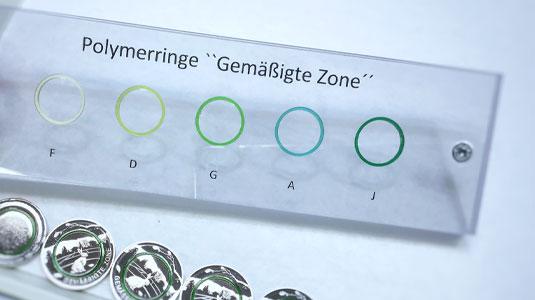 Farbtöne der neuen 5-Euro-Münze mit grünem Polymerring