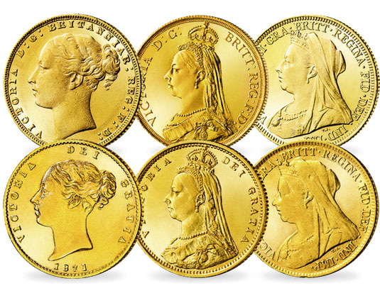 Victorias Sovereign-Goldmünzen mit Young Head, Jubilee Head und Old Head (1/2 und 1 Sovereign, Vorderseiten) | MDM-Blog