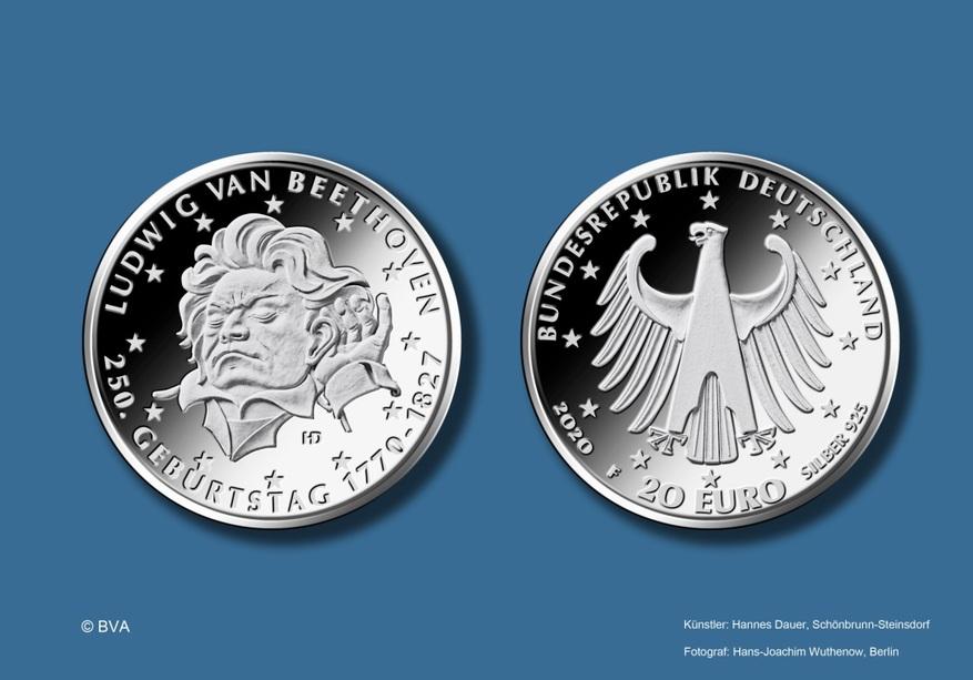 """20-Euro-Gedenkmünze """"250. Geburtstag Ludwig van Beethoven"""""""