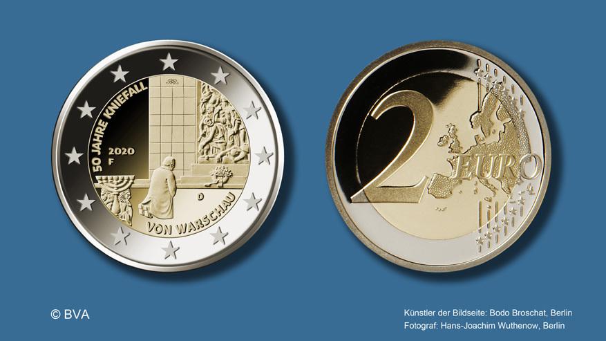"""2-Euro-Gedenkmünze """"50 Jahre Kniefall von Warschau"""": Motiv und Auflage"""